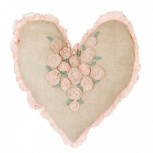 HEART SHAPED CUSHION WITH FLOWERS