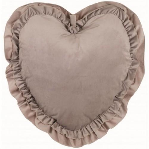 VELVET HEART CUSHION WITH RUFFLES