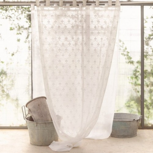 EMBROIDERY CURTAIN WITH LOOPS