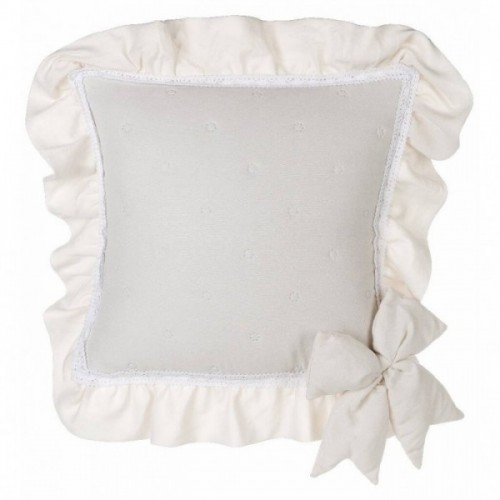 CUSHION COVER WITH RUFFLE AND BOWS